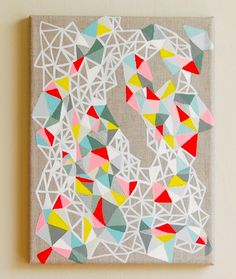 Love the geometric paintings. unfortunately, couldn't find the original artist (listings were expired 1.22.14)