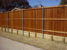 All American Fences Plano Frisco Carrollton builders repairs anti dig for dog Diy Backyard Fence, Diy Privacy Fence, Diy Fence, Fence Gate, Backyard Landscaping, Fencing, Fence Ideas, Retaining Wall Fence, Metal Fence Posts