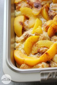 Peach and croissants  - Make the night before to enjoy the next morning! This recipe is a sweet and filling way to start your day.