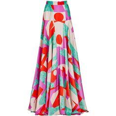 Womens Pleated Skirts ROKSANDA Keating Printed Silk Dupion Maxi Skirt (6.505 RON) ❤ liked on Polyvore featuring skirts, multicolor skirt, pleated skirt, silk maxi skirt, maxi skirt and ankle length skirt
