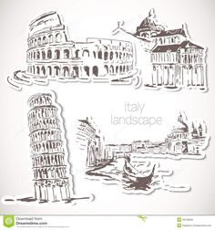 italy-hand-drawn-landscape-vintage-style-file-eps-format-33135845.jpg (1300×1390)