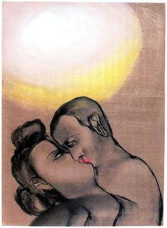 Francesco Clemente Kiss, 1983Pastel on paper66 x 48cm by mooonriver, via Flickr