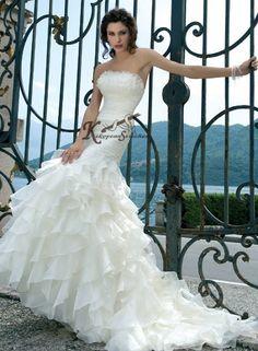 Gazar Organza Fishtail Wedding Gown| Mermaid Wedding Gown