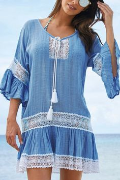 Blue Crochet Insert Loose Beach Kaftan