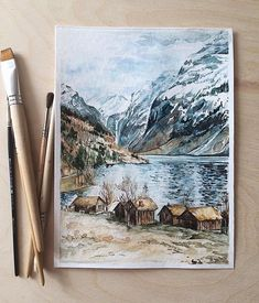 Artes Artes Source by melikkekaya. Watercolor Artwork, Watercolor Landscape, Wow Art, Landscape Illustration, Art Sketchbook, Oeuvre D'art, Les Oeuvres, Art Inspo, Art Drawings