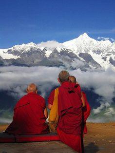 Nieve y Montaña monjes - Meili, Yunnan - Tíbet de las Naciones Unidas para un Tíbet Libre
