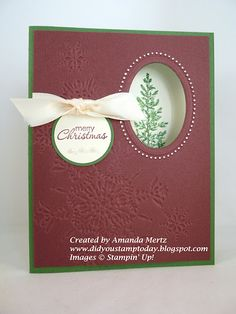 Stampin Up:  Northern Flurry embossing folder, Lovely As A Tree + great instructions!