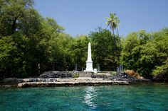 CAPTAIN COOK MONUMENT IN KEALAKEKUA BAY, HAWAII.  We snorkeled here and had a great day.