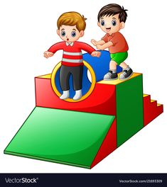 Two boys playing in the playground vector image on VectorStock Deer Cartoon, Cartoon Bee, Cartoon Kids, Cute Cartoon, Cute Cat Sleeping, Branch Vector, Cute Snake, Human Drawing, Cute Little Boys
