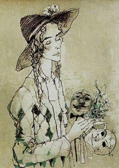 .:. Jean Jansem Museum Collection, Pattern Art, Gouache, Watercolor, Drawings, Artwork, Painting, Masks, Illustrations