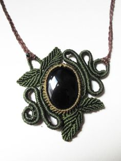 Woodlands spiral macrame necklace with by AbstractikaCrafts, £30.00