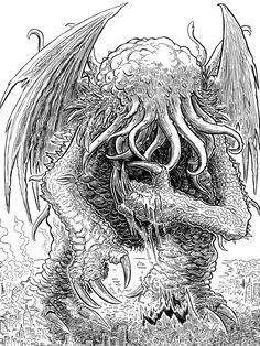 Lovecraft Sketch MWF: Cthulhu #4 by Jason Thompson