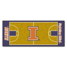 Fanmats Machine-made University of Illinois Nylon Basketball Court Runner