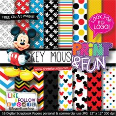 MICKEY MOUSE Clubhouse Disney Digital Paper Patterns by Printnfun, €3.00  https://www.etsy.com/listing/184580343/mickey-mouse-clubhouse-disney-digital?ref=sr_gallery_38&ga_order=date_desc&ga_view_type=gallery&ga_ref=fp_recent_more&ga_page=13&ga_search_type=all