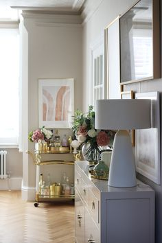Renovation Complete: The Reveal of Our New Taupe and Pink Dining Room - Swoon Worthy Room, Luxury Flooring, Large Sideboard, Home Decor Trends, Room Decor, Trending Decor, White Rooms, Pink Dining Rooms, Taupe Dining Room