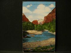 Zion National Park Mountain Stream Utah Linen Scenic Postcard 15 | eBay