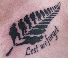 Kiwi ex Soldiers tattoo in shape of Silver fern leaf ...