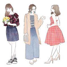 イラスト描かせていただきました。 体型のお悩みは服でカバー。着やせに役立つ春のおすすめアイテム https://moteco-web.jp/?p=54083 #ファッション #fashion #コーデ #コーディネート #art #draw #illustration #illust #illustrator #イラスト