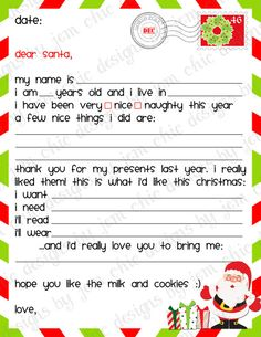 Kids Christmas Wishlist Printable Dear Santa by ChicDesignsByJEM Best Picture For elf on the shelf i Christmas List Template, Christmas List Printable, Santa Letter Template, Santa Letter Printable, Christmas Worksheets, Christmas Images, Santa Christmas, Christmas Wishes, Christmas Ideas