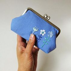 Blue Flowers Frame Purse Hand Embroidered