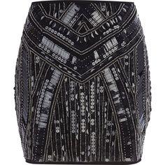 Black sequin embellished mini skirt