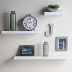 Have to have it. Hudson Easy Mount Floating Shelves - 3 pk. (36 in./24 in./12 in.) - White - $54.99 @hayneedle