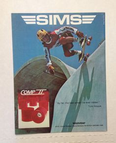 The Sims Team Rider is Tom Inouye. He is skateboarding on a 1970's era complete skateboard and wearing a complete Sims Skateboards Team jersey.
