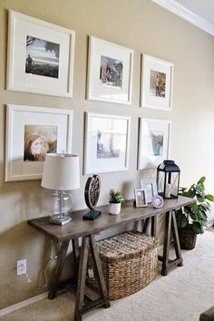 Styling With Monochrome Frames Entry way – Living Room Decor // Ikea Picture Frame Gallery Wall // Sofa Table Decor // Tucker Up Hall Deco, Home Living Room, Living Room Decor, Living Area, Cozy Living, Living Room Gallery Wall, Front Room Decor, Usa Living, Front Rooms