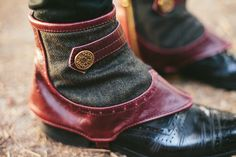 Men's Steampunk spats oxblood leather and wool by EidoL on Etsy, $98.00