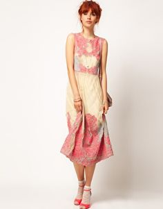 ASOS Salon Neon Embroidery Mesh Midi- I LOVE THE Dress and the red hair.