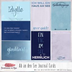 Ein Set mit deutschsprachigen Journaling Karten zum Thema Seenliebe. Journal Cards, Junk Journal, Bullet Journal, Haus Am See, Websters Pages, Project Life Cards, Zentangle Drawings, Am Meer, Pen And Paper