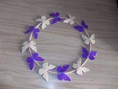 Purple and cream felt butterfly wreath