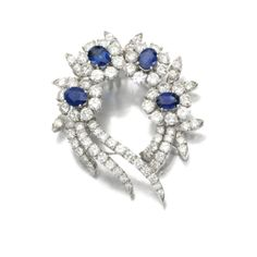 Sapphire and diamond brooch, 1960s - Sotheby's