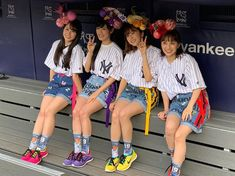 """""""At Yankee Stadium today, Momoiro Clover Z, one of the biggest pop groups in Japan. One of their songs is the one Yankees pitcher Masahiro Tanaka uses as his walk-up song when he takes the mound. Yankees Pitchers, Big Pops, Yankee Stadium, Pop Group, Harajuku, Momoiro Clover, How To Wear, Instagram"""