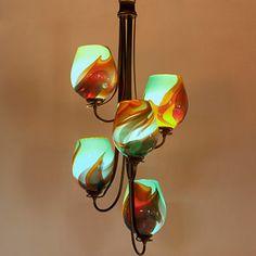 Flora Vertical Chandelier (5 Light)  #multilightchandelier #artglasslighting #blownglasslighting #glasslighting