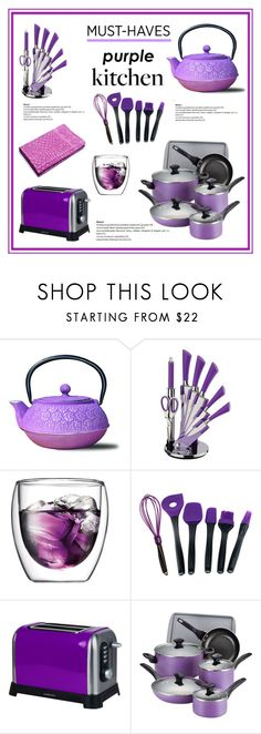 """""""Must Have:  Purple Kitchen"""" by tjclay3 ❤ liked on Polyvore featuring interior, interiors, interior design, home, home decor, interior decorating, Old Dutch, Bodum, BergHOFF and Sabichi"""
