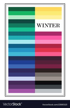 Seasonal color analysis palette for winter type. Type of female appearance