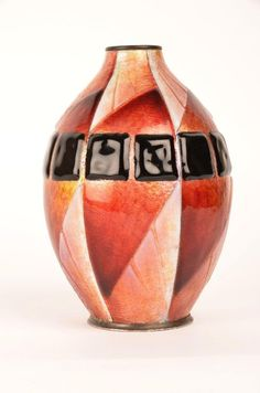 Camille Faure (1874-1956)~Vase with a geometric pattern of Gold~Black~White enamels