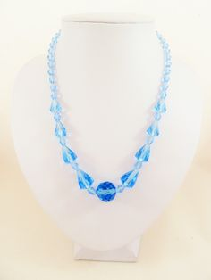 Sky blue Art Deco faceted glass bead necklace.  30s