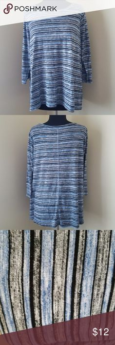 "Blue/Black/Gray Knit Striped Shirt, 18/20 Good used condition!   Robin blue, black and gray striped shirt with 3/4 length sleeves,   80% polyester, 20% rayon.   27"" long, 48"" bust.   Size 18/20 by Avenue Avenue Tops Tees - Long Sleeve"