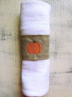 **Please check out our shop announcements for the most up-to-date shop coupons!**  This is a set of custom made linen pumpkin monogrammed napkin
