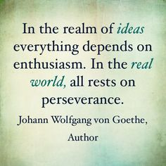 After the initial excitement wears off, perseverance will see you through to fruition, to when your dream becomes reality.