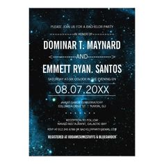Shop Galaxy Bachelor Party Invite created by RenImasa. Bachelor Party Invitations, Unique Invitations, Rsvp, Invite