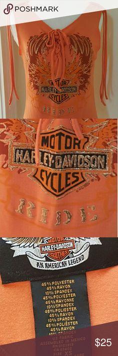 HARLEY DAVIDSON Womens XS Ride Tank Top HARLEY DAVIDSON Womens XS Ride Tank Top Orange ..Tie front...tassel shoulders Harley-Davidson Tops Tank Tops