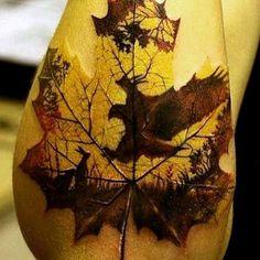 Deer Nature Leaf Tattoo Designs For Men