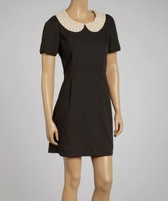 Look what I found on #zulily! Black Pleated Beaded Shift Dress by Deep or Shallow #zulilyfinds
