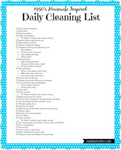 A Housewife' Daily Cleaning List – Newbie NestersYou can find Retro housewife and more on our website.A Housewife' Daily Cleaning List – Newbie Nesters 1950s Housewife, Vintage Housewife, Daily Cleaning Lists, Cleaning Hacks, Cleaning Schedules, Cleaning Routines, Deep Cleaning, Weekly Cleaning, Daily Routines