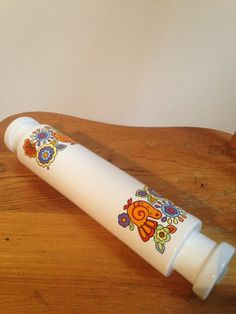 Glorious Gaytime 1960s ceramic rolling pin with stoppers by Lord Nelson pottery by WowieZowieShop on Etsy