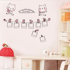 Wall Decals - YYone My Golden Memories Quote with Cats Picture Frames Removable Wall Decal Sticker -