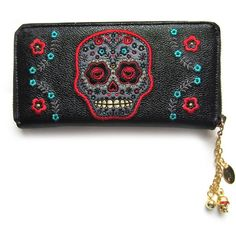 Banned Day of the Dead Flower Sugar Skull Embroidered Zip Around... ($35) ❤ liked on Polyvore featuring bags, wallets, flower wallet, embroidery bags, skull wallet, white wallet and embroidered wallet